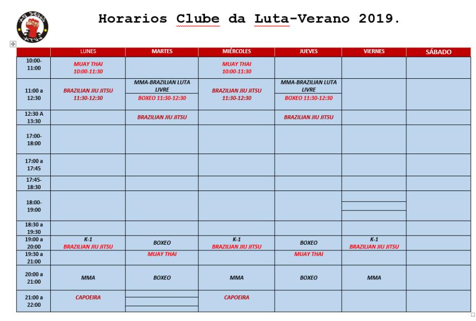 HORARIO VERANO 19